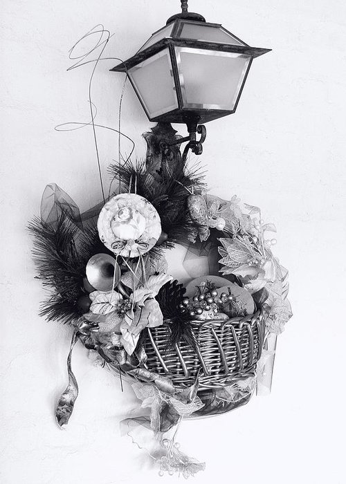 Holiday Greeting Card featuring the photograph Holiday Basket On Lamp Bw by Linda Phelps