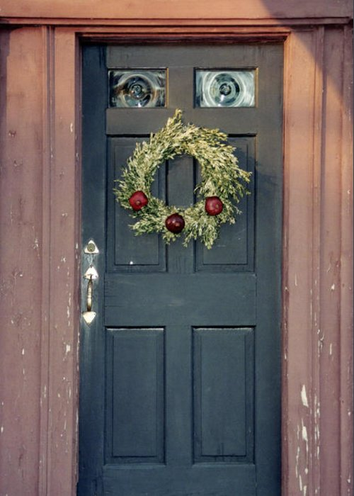 Holiday Greeting Card featuring the photograph Holiday Door by Christina Solstad