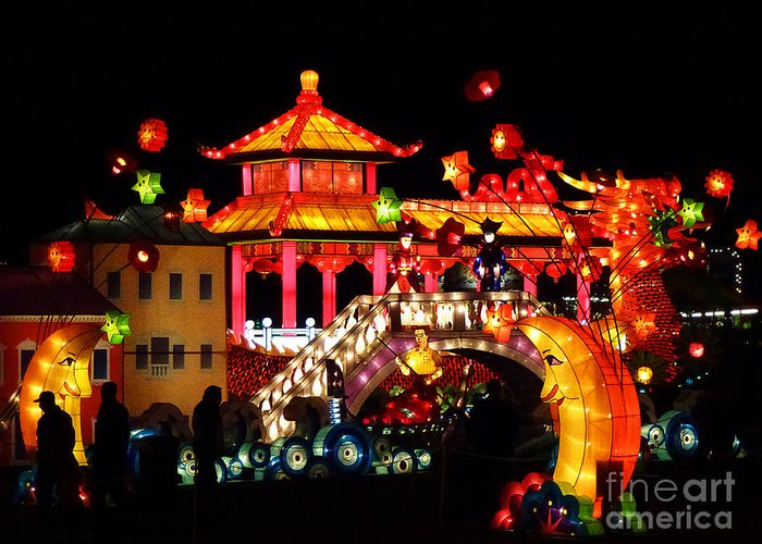 Asia Greeting Card featuring the photograph Holiday Lights 9 by Xueling Zou