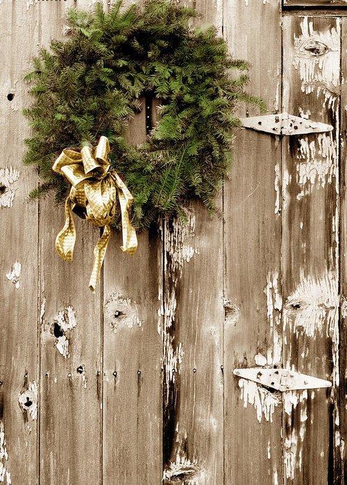 Holiday Wreath On The Farm Greeting Card featuring the photograph Holiday Wreath On The Farm by Ray Rothaug