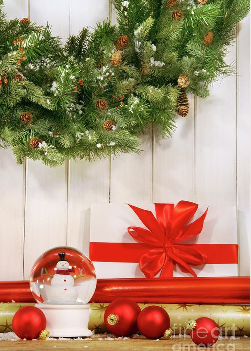Bright Greeting Card featuring the photograph Holiday Wreath With Snow Globe by Sandra Cunningham