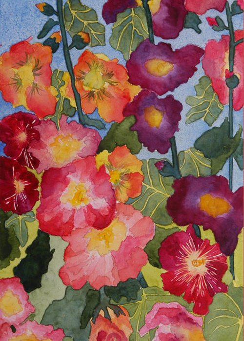 Floral Garden Greeting Card featuring the painting Hollyhocks In Bloom by Kimberlee Weisker