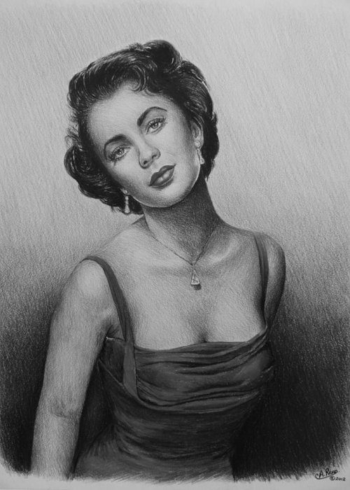 Elizabeth Taylor Greeting Card featuring the painting hollywood greats Elizabeth Taylor by Andrew Read