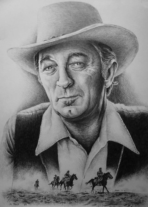 Robert Mitchum Greeting Card featuring the drawing Hollywood Greats -robert Mitchum by Andrew Read
