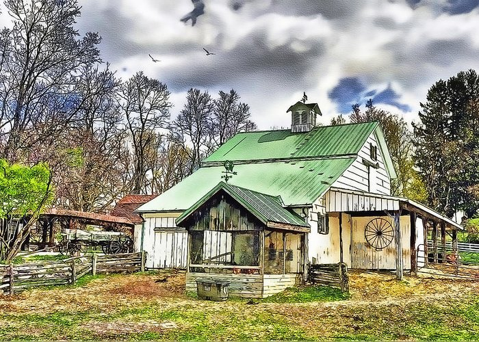 Old Barns Greeting Card featuring the painting Holmes County Farm by Tom Schmidt