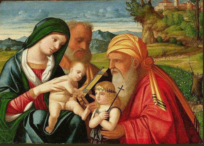 Saint; Saints; Virgin Greeting Card featuring the painting Holy Family With St. Simeon And John The Baptist by Francesco Rizzi da Santacroce