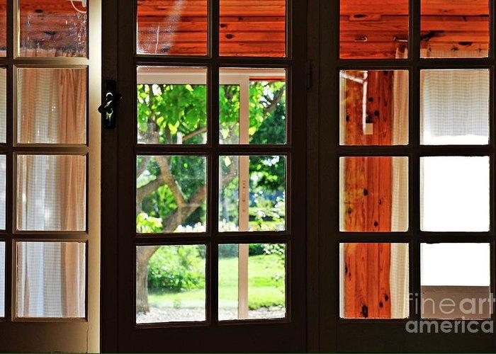 Horizontal Greeting Card featuring the photograph Home Garden Through Window by Sami Sarkis