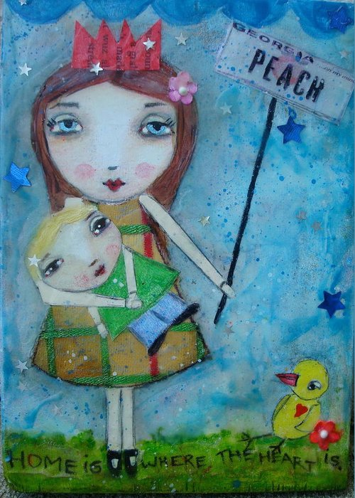Mother Greeting Card featuring the painting Home Is Where The Heart Is by Denise Rivkin