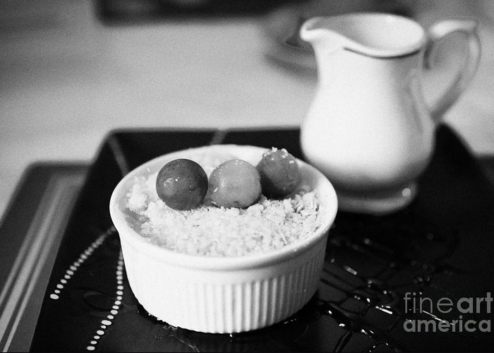 Home Greeting Card featuring the photograph Home Made Apple Crumble Dessert With Grapes Served In A Gastro Pub Scotland Uk by Joe Fox