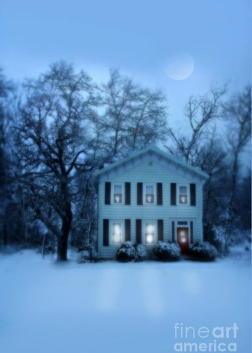 Home Greeting Card featuring the photograph Home On A Wintery Evening by Jill Battaglia