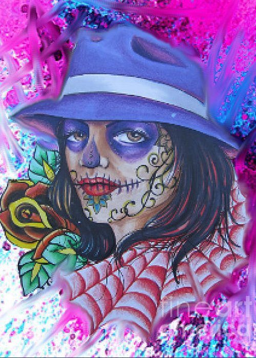 Day Of The Dead Girl Greeting Card featuring the mixed media Homegirl 2 by Mario Ubalejo