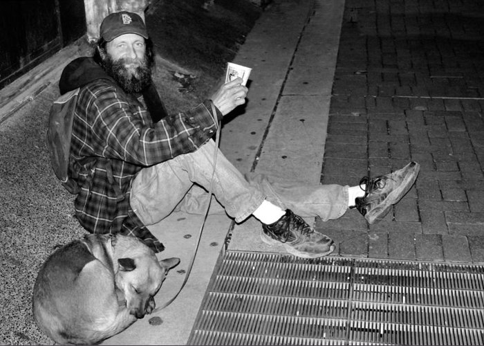 Homeless Greeting Card featuring the photograph Homeless With Faithful Companion by Kristin Elmquist