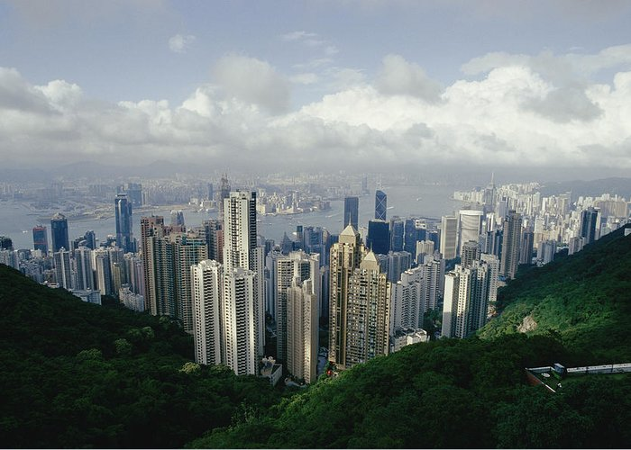 Asia Greeting Card featuring the photograph Hong Kong Island And The Bay by Jason Edwards