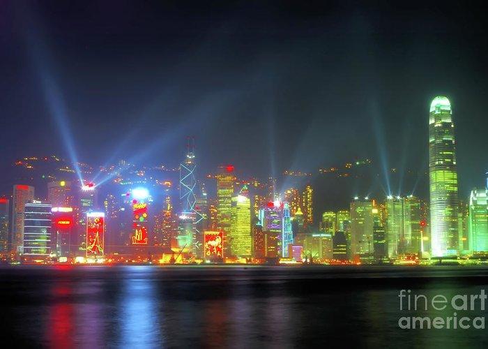hong Kong Greeting Card featuring the photograph Hong Kong Night Lights by Bibhash Chaudhuri