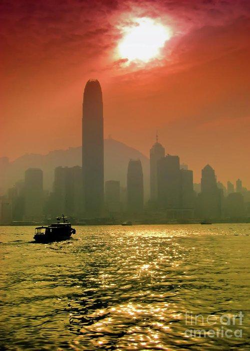 Sunset Greeting Card featuring the photograph Hong Kong Sunset by Bibhash Chaudhuri