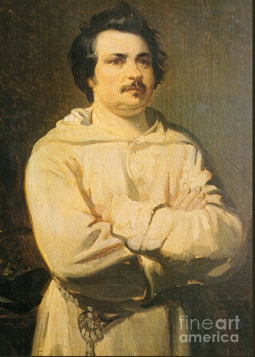Honore De Balzac Greeting Card featuring the photograph Honore De Balkzac, French Author by Photo Researchers