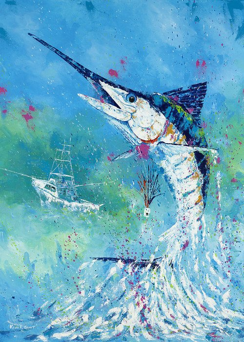 Blue Marlin Greeting Card featuring the painting Hook Up by Kevin Brant