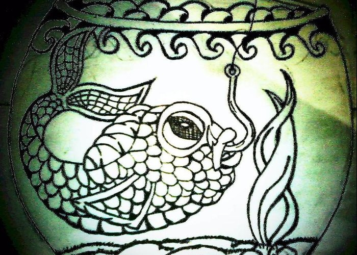 Fish Hook Greeting Card featuring the drawing Hooked by Jennifer Lamb