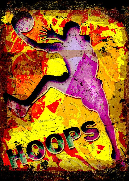 Hoops Greeting Card featuring the photograph Hoops Basketball Player Abstract by David G Paul