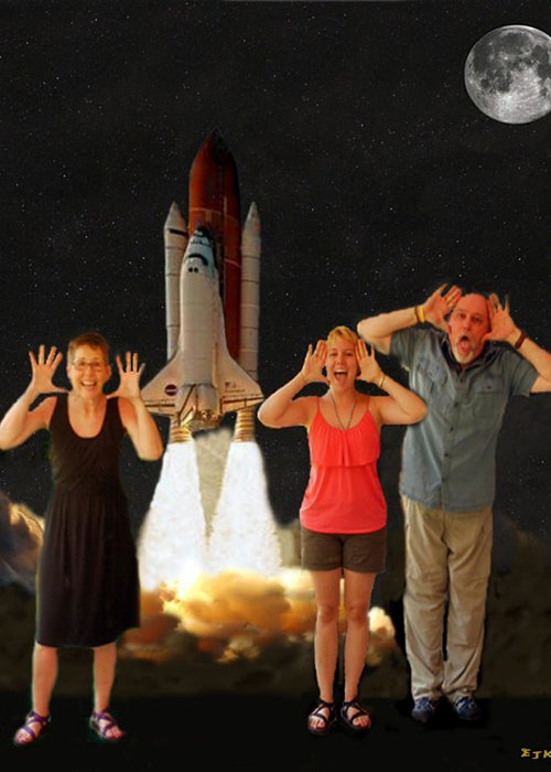 The Scream World Tour Space Shuttle Greeting Card featuring the mixed media Hoovler Family Scream by Eric Kempson