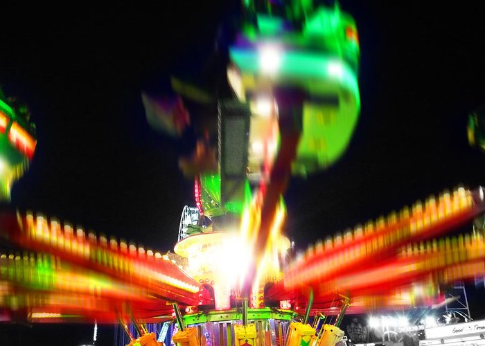 Fairground Ride At Night Greeting Card featuring the digital art Hoppity Hop Hop Hop by Charles Stuart