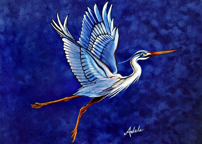 Blue Heron Greeting Card featuring the painting Horeshio's 2nd Arabesque by Adele Moscaritolo