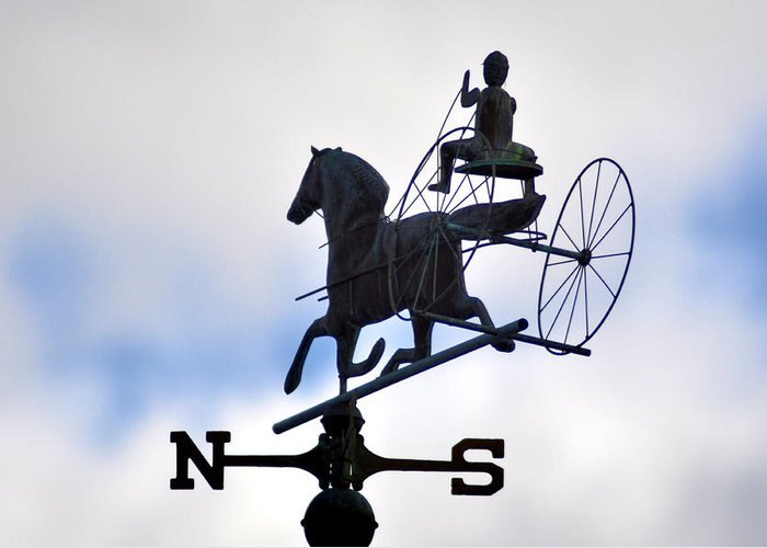 Horse And Buggy Weather Vane Greeting Card featuring the photograph Horse And Buggy Weather Vane by Bill Cannon