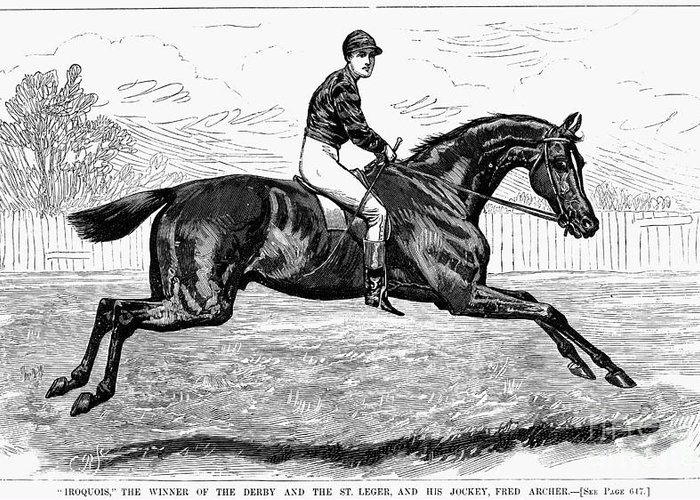 1880s Greeting Card featuring the photograph Horse Racing, 1880s by Granger