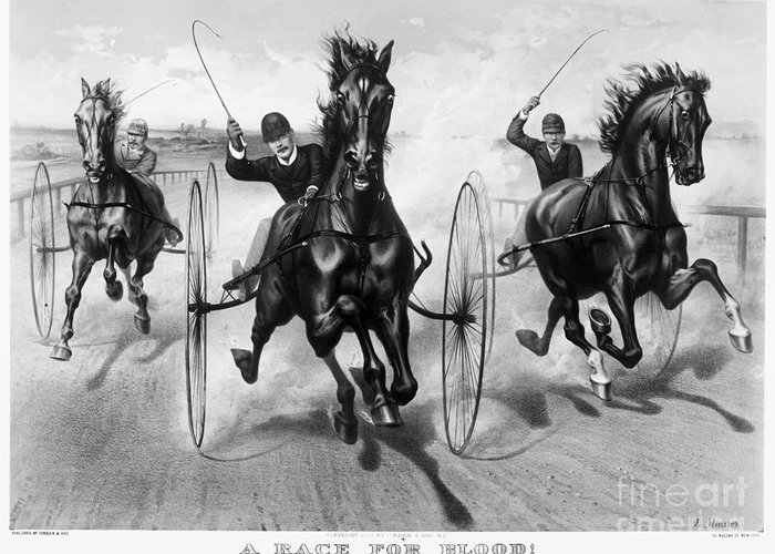 1890 Greeting Card featuring the photograph Horse Racing, 1890 by Granger