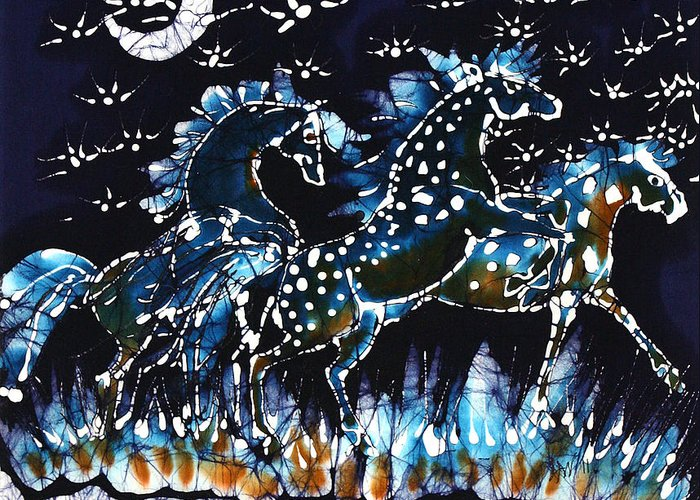 Horses Greeting Card featuring the tapestry - textile Horses Frolic On A Starlit Night by Carol Law Conklin