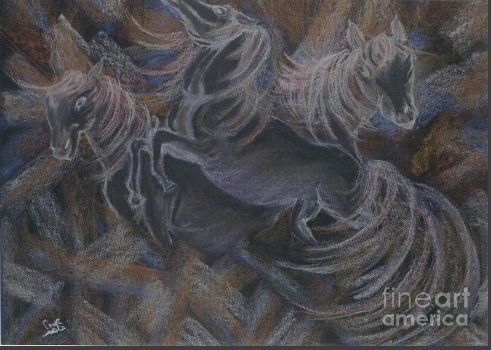 Fegour.horses Greeting Card featuring the pastel Horses by Nahed Ismaeil
