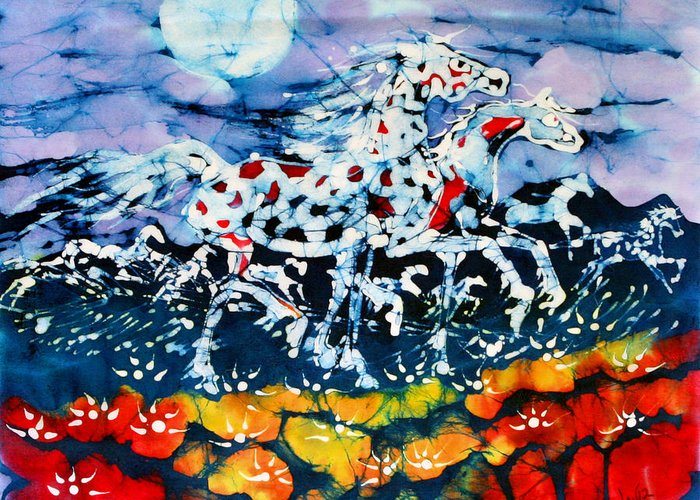 Summer Greeting Card featuring the tapestry - textile Horses Prance On Flower Field In Summer Moon by Carol Law Conklin