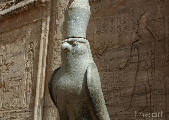 Falcon Greeting Card featuring the photograph Horus The Falcon At Edfu by Bob Christopher