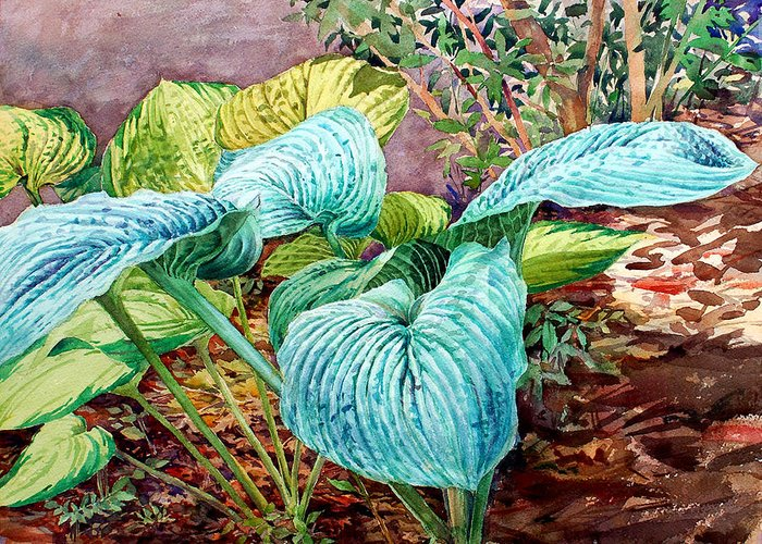 Watercolor Greeting Card featuring the painting Hosta by Peter Sit