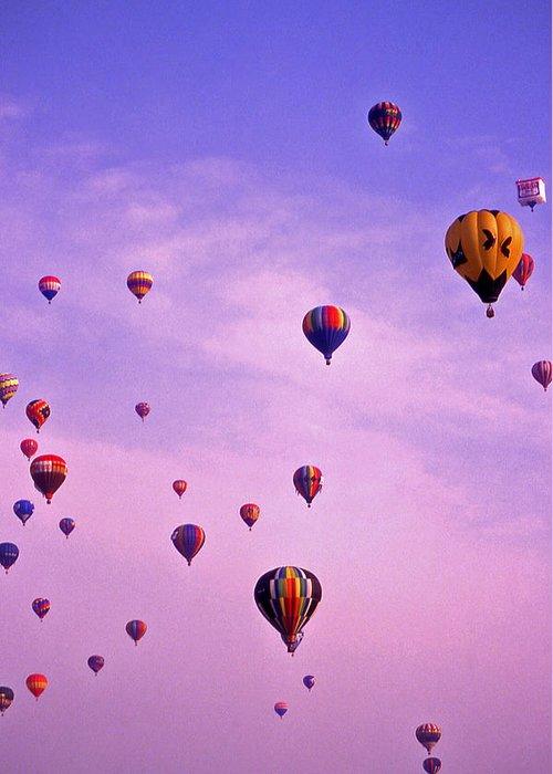 Hot Air Greeting Card featuring the photograph Hot Air Balloon Race - 1 by Randy Muir