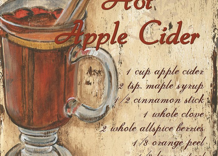 Hot Apple Cider Greeting Card featuring the painting Hot Apple Cider by Debbie DeWitt