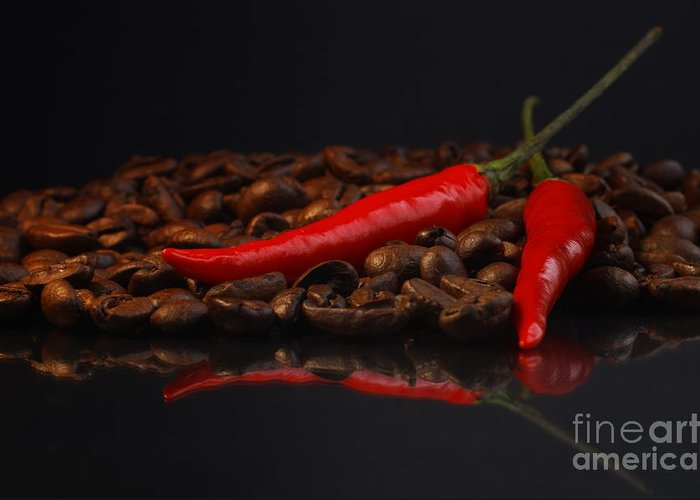 Red Greeting Card featuring the photograph Hot Coffee by Tanja Riedel