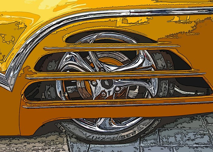 Hot Greeting Card featuring the photograph Hot Rod Wheel Cover by Samuel Sheats