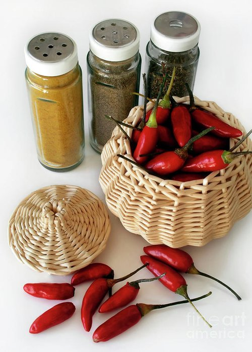 Appetizer Greeting Card featuring the photograph Hot Spice by Carlos Caetano