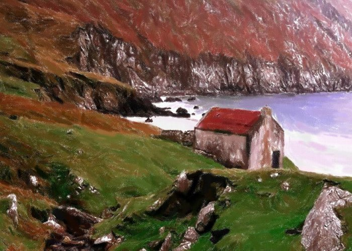 Oil Pastel Ireland Beauty Country Countryside Painting Landscape Cottage Old House Coast Romance Water Green Grass Mountain Expressionism Impressionism Cliff Cliffs Greeting Card featuring the pastel House At The Coast by Steve K