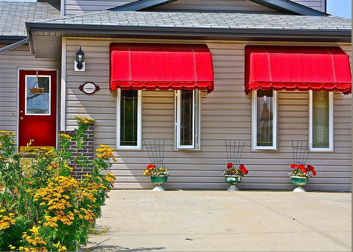 Home Greeting Card featuring the photograph House With Red Shades. by Johanna Bruwer
