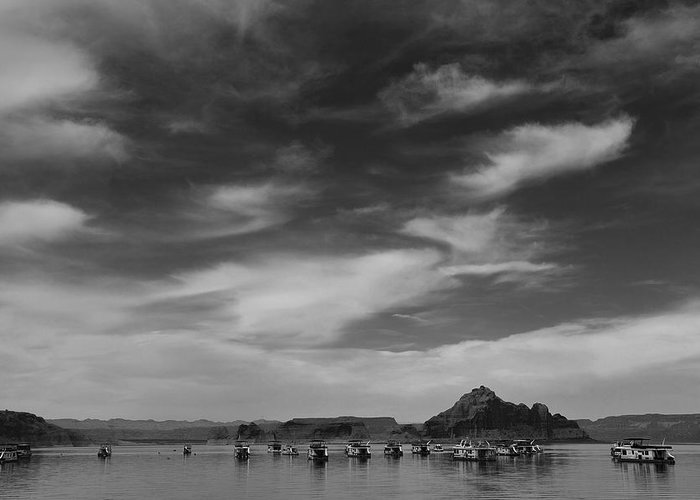 Nature Greeting Card featuring the photograph Houseboats On Lake Powell by Andrew Soundarajan