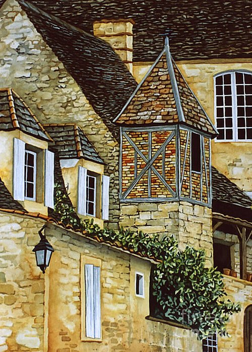 Sarlat Greeting Card featuring the painting Houses In Sarlat by Scott Nelson