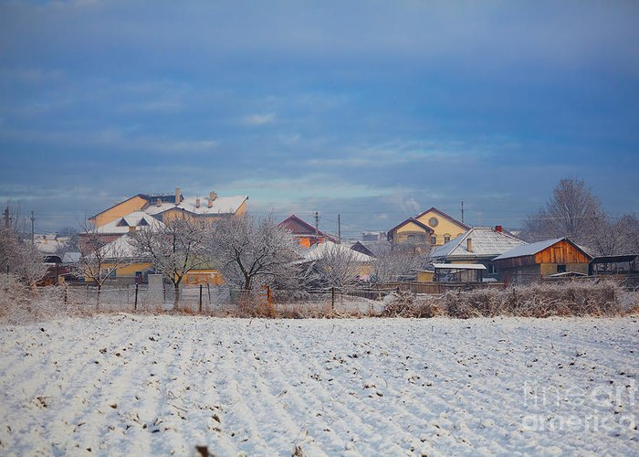 Houses Greeting Card featuring the photograph Houses In Winter by Gabriela Insuratelu