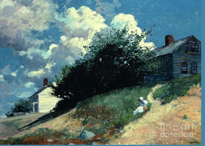 Houses On A Hill Greeting Card featuring the painting Houses On A Hill by Winslow Homer
