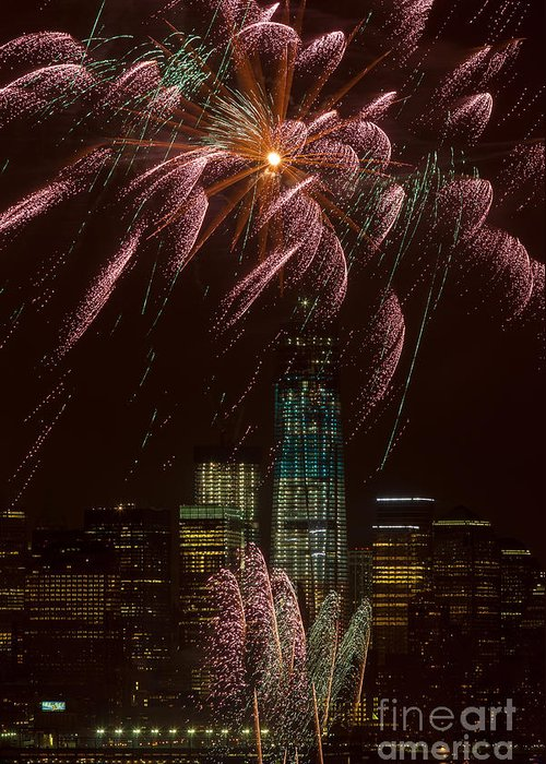 Clarence Holmes Greeting Card featuring the photograph Hudson River Fireworks X by Clarence Holmes