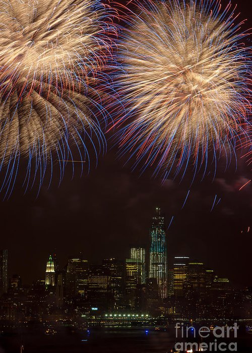 Clarence Holmes Greeting Card featuring the photograph Hudson River Fireworks Xi by Clarence Holmes
