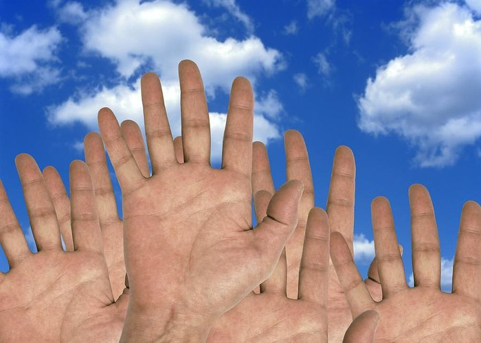 Human Greeting Card featuring the photograph Human Hands And The Sky, Conceptual Image by Victor De Schwanberg