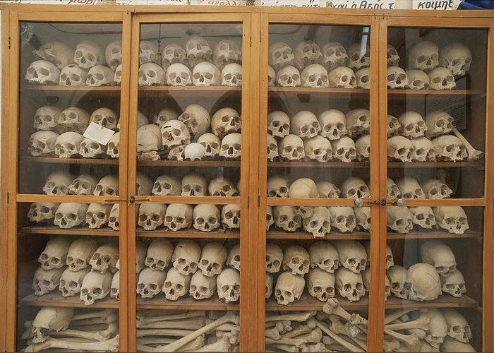 Europe Greeting Card featuring the photograph Human Skulls And Femurs Fill A Display by Tino Soriano