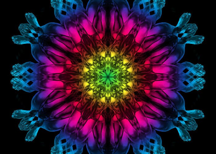 Psychedelic Greeting Card featuring the photograph Humandala 3 by David Kleinsasser